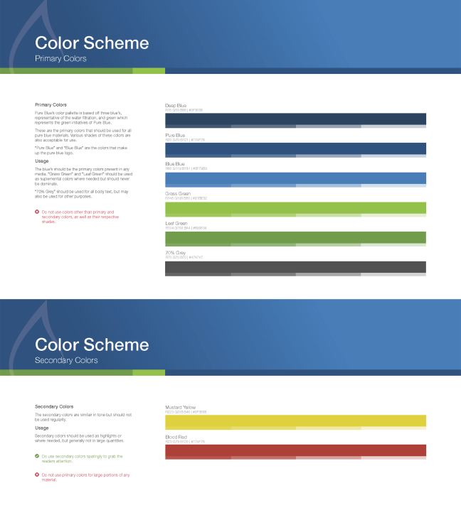 Brand book primary and secondary colors